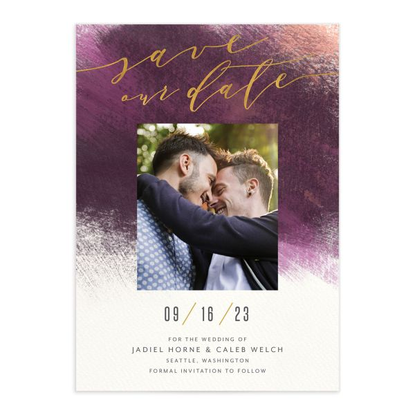 Modern Brushstroke Save the Date Card front in purple