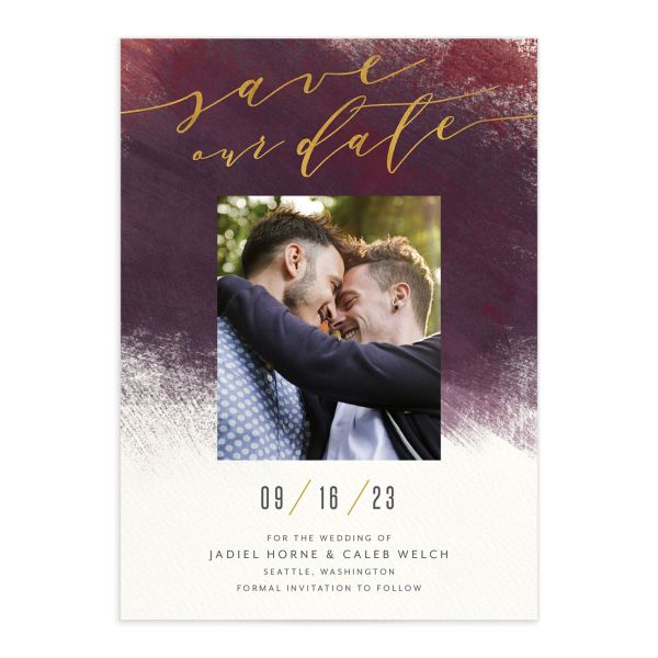 Modern Brushstroke Save the Date Card front in red