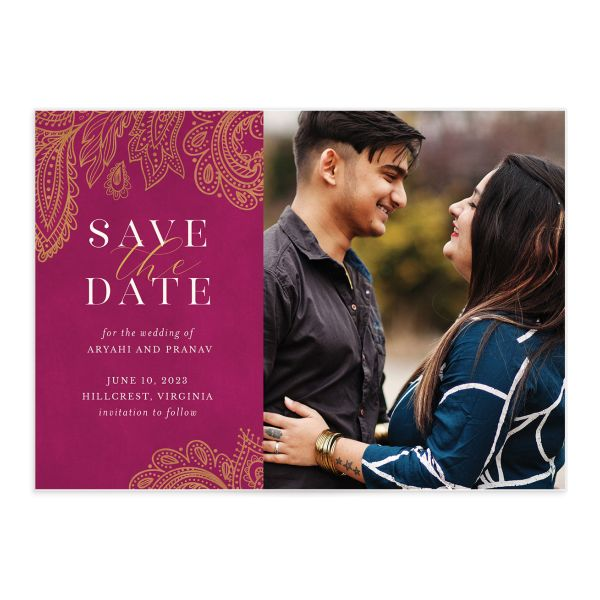 Ornamental Elegance Save the Date Card front in pink