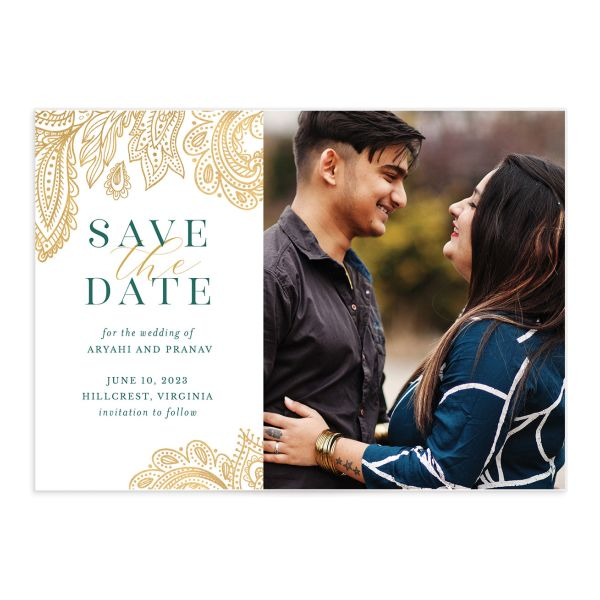 Ornamental Elegance Save the Date Card front in white