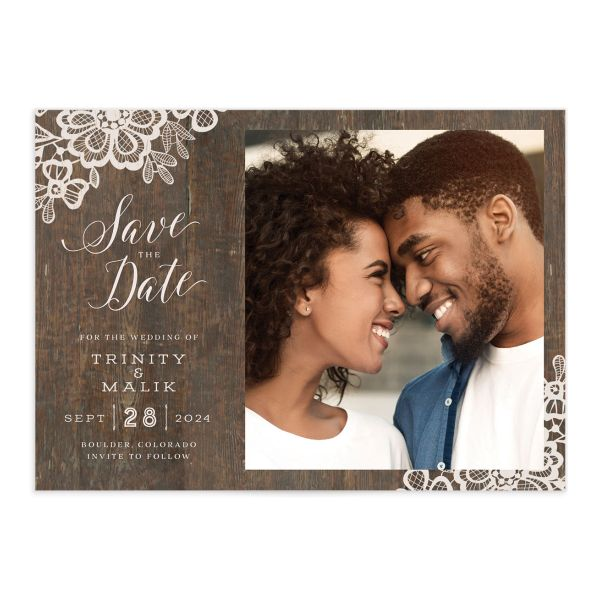 Woodgrain Lace Save The Date Cards
