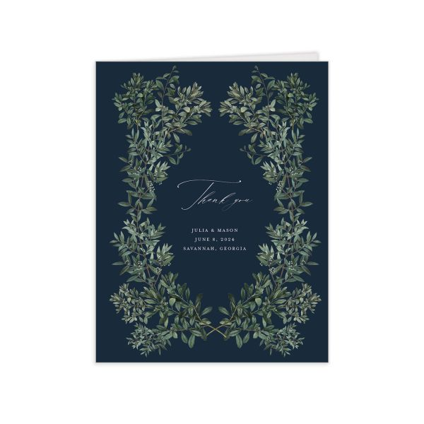 Formal Greenery Thank You Card front in navy