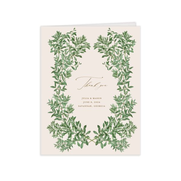 Formal Greenery Thank You Card front in pink