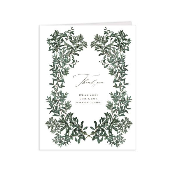 Formal Greenery Thank You Card front in white