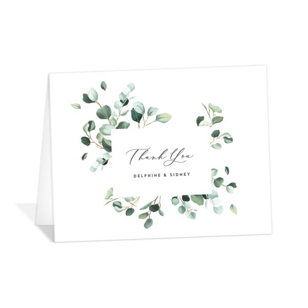Modern Eucalyptus Thank You Card front
