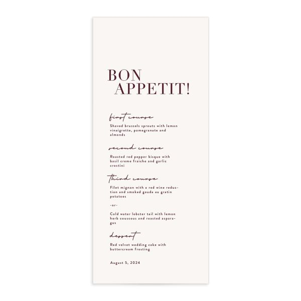 Modern Type Menu front in burgundy