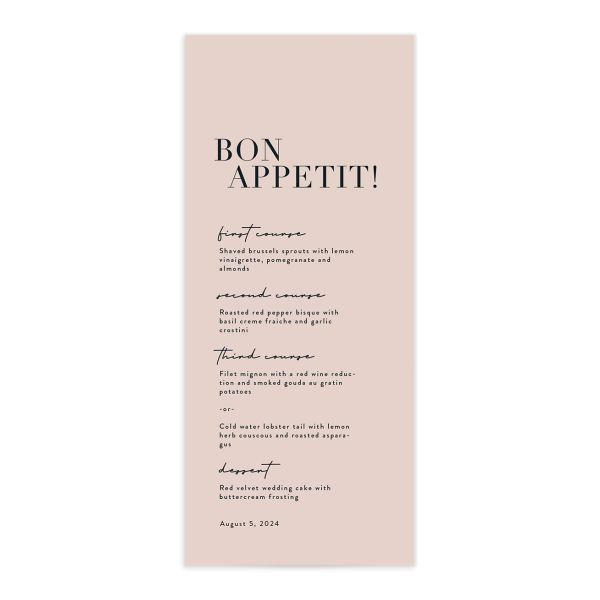 Modern Type Menu front in pink