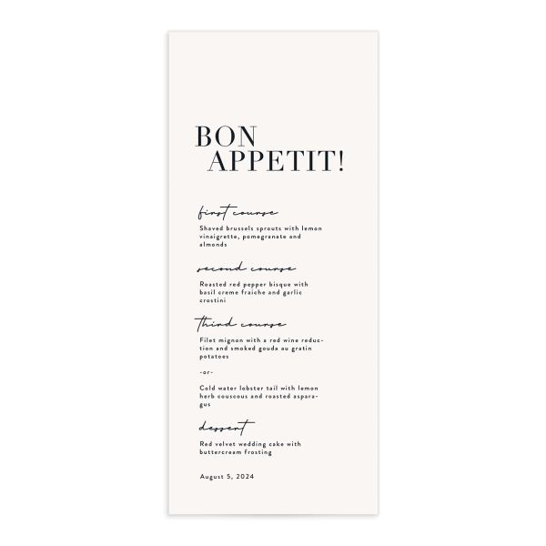 Modern Type Menu front in white