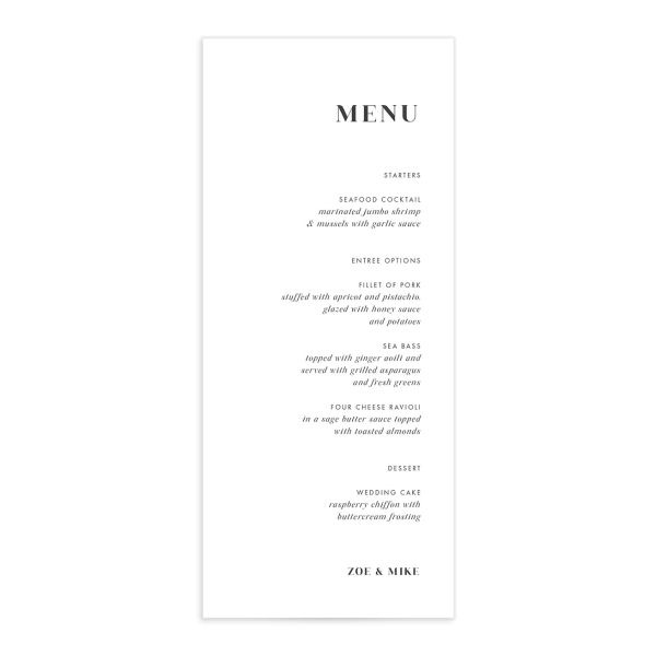Scarlet Anemone Menu Card front in white
