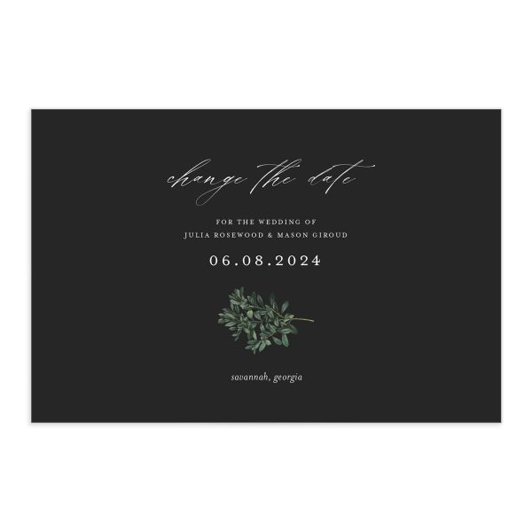 Formal Greenery Change the Date Postcard front closeup in black