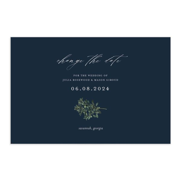 Formal Greenery Change the Date Postcard front closeup in navy
