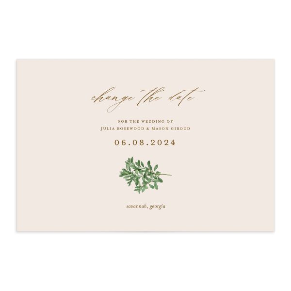 Formal Greenery Change the Date Postcard front closeup in pink