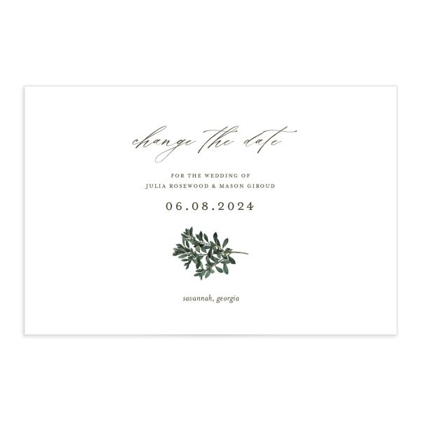 Formal Greenery Change the Date Postcard front closeup in white