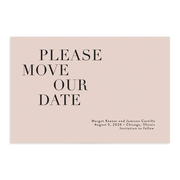 Modern Type Change the Date Postcard front in pink