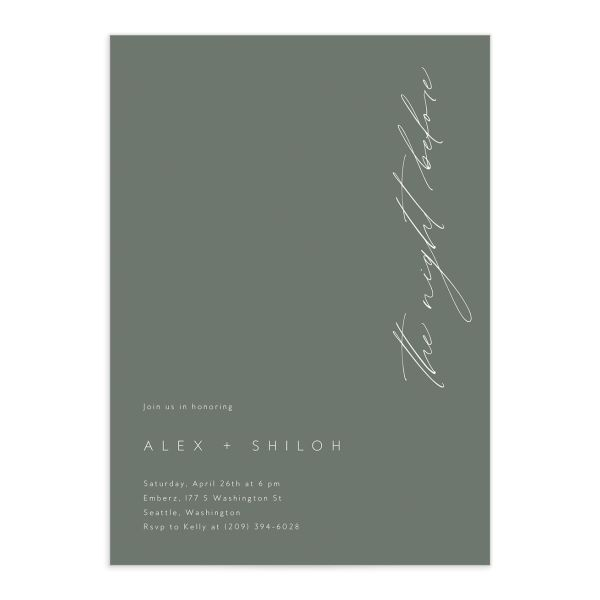 Stacked Initials Rehearsal Dinner Invitations