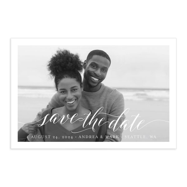 Chic Calligraphy Save the Date Postcard front