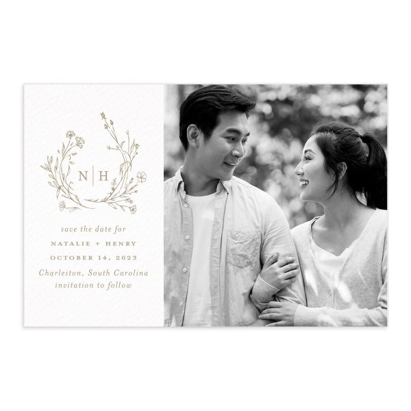 Natural Monogram Save the Date Postcard front in tan