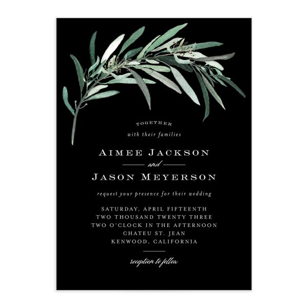 Lush Greenery Wedding Invitation front closeup in black