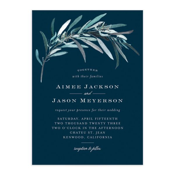 Lush Greenery Wedding Invitation front closeup in blue