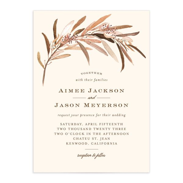 Lush Greenery Wedding Invitation front closeup in brown