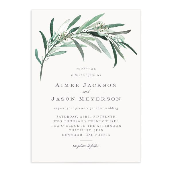 Lush Greenery Wedding Invitation front closeup in green