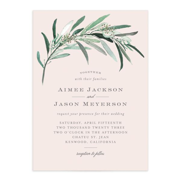 Lush Greenery Wedding Invitation front closeup in pink