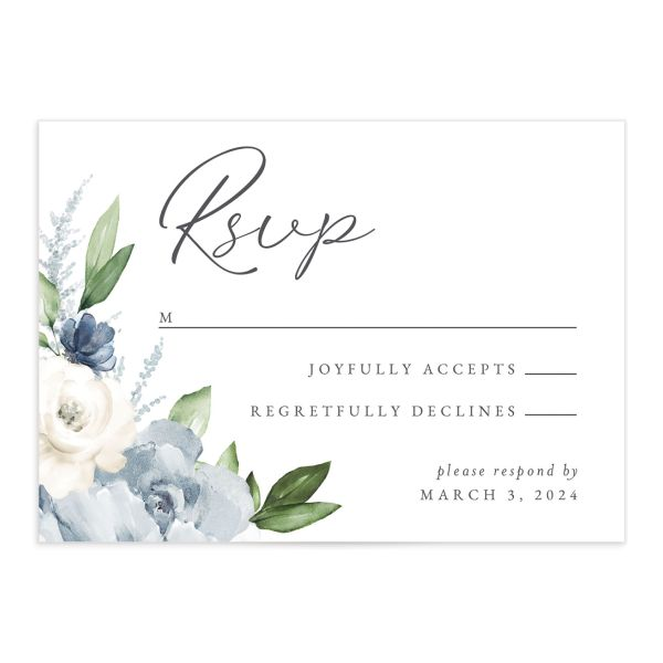 Beloved Floral Response Card front in teal
