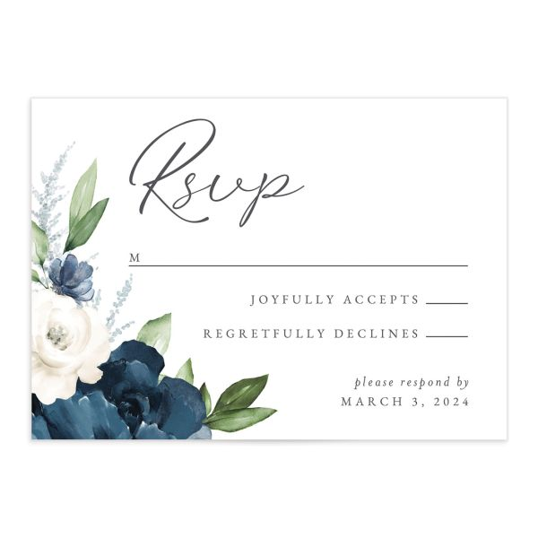 Beloved Floral Response Card front in navy