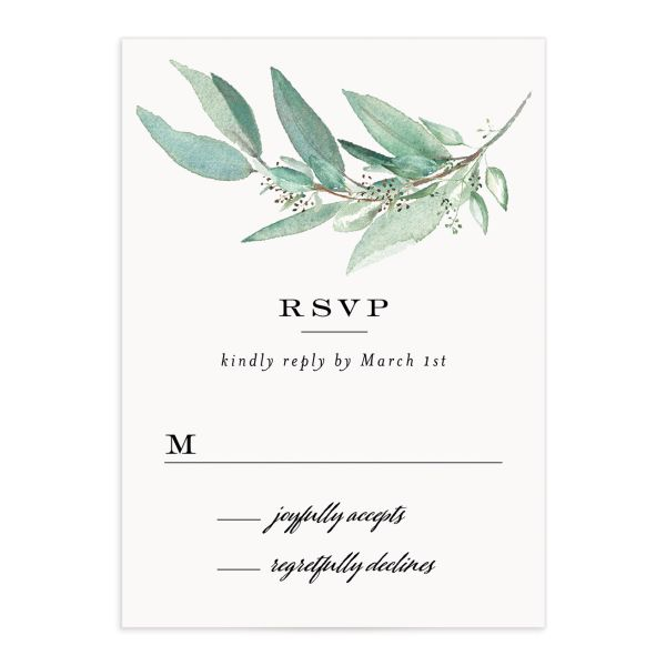 Lush Greenery Response Card front in black