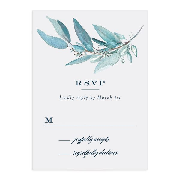 Lush Greenery Response Card front in blue