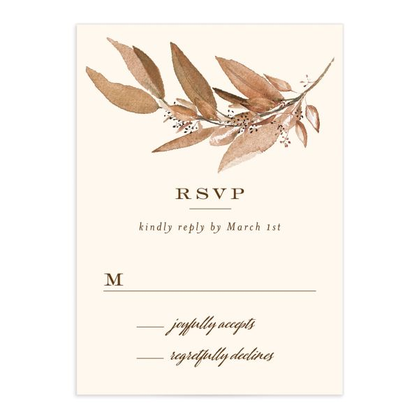 Lush Greenery Response Card front in brown