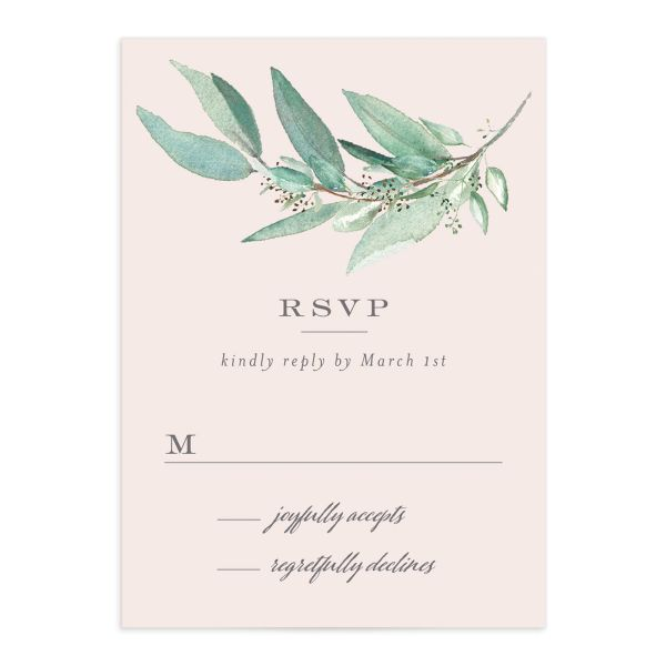 Lush Greenery Response Card front in pink