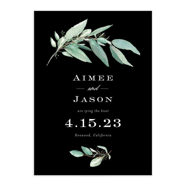 Lush Greenery Save the Date front closeup in black