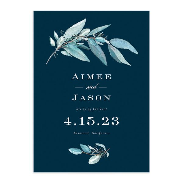 Lush Greenery Save the Date front closeup in blue