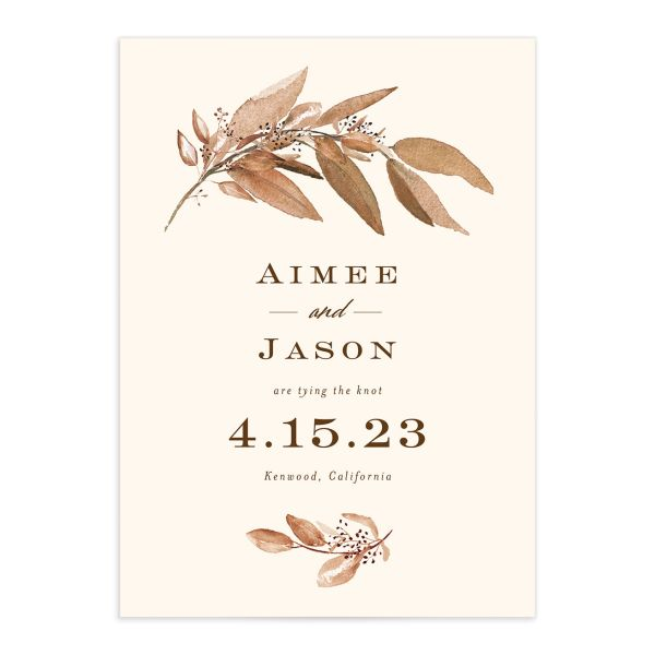 Lush Greenery Save the Date front closeup in brown
