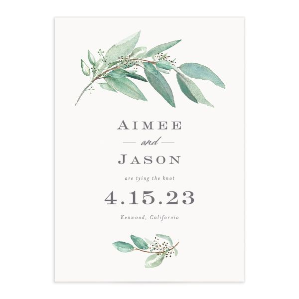 Lush Greenery Save the Date front closeup in green
