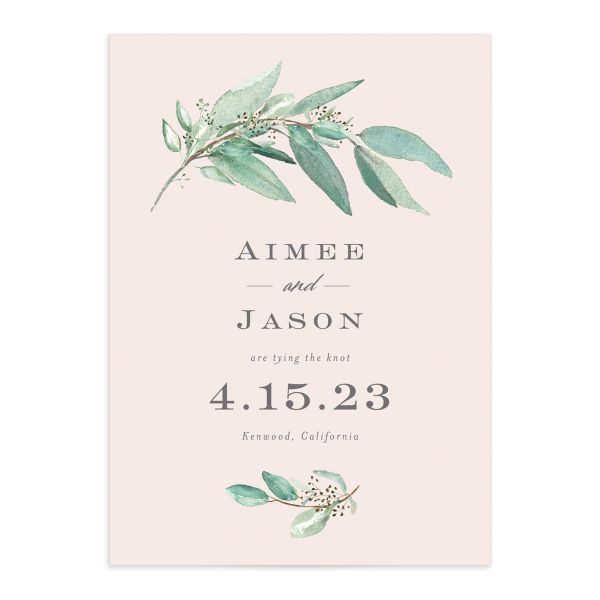 Lush Greenery Save the Date front closeup in pink