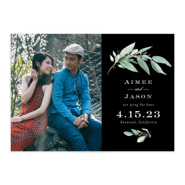 Lush Greenery Save the Date with Photo front closeup in black