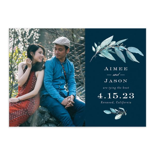 Lush Greenery Save the Date with Photo front closeup in blue