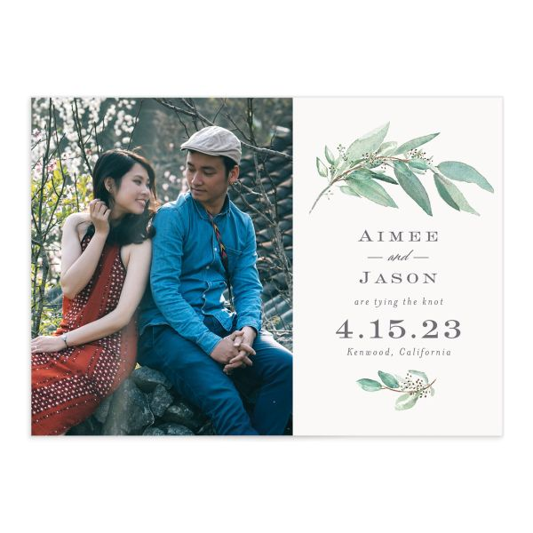 Lush Greenery Save the Date with Photo front closeup in green