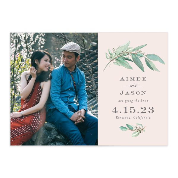 Lush Greenery Save the Date with Photo front closeup in pink