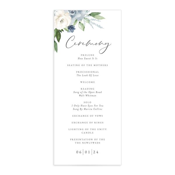 Beloved Floral Wedding Program front in teal