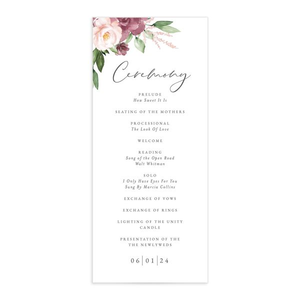Beloved Floral Wedding Program front in mauve