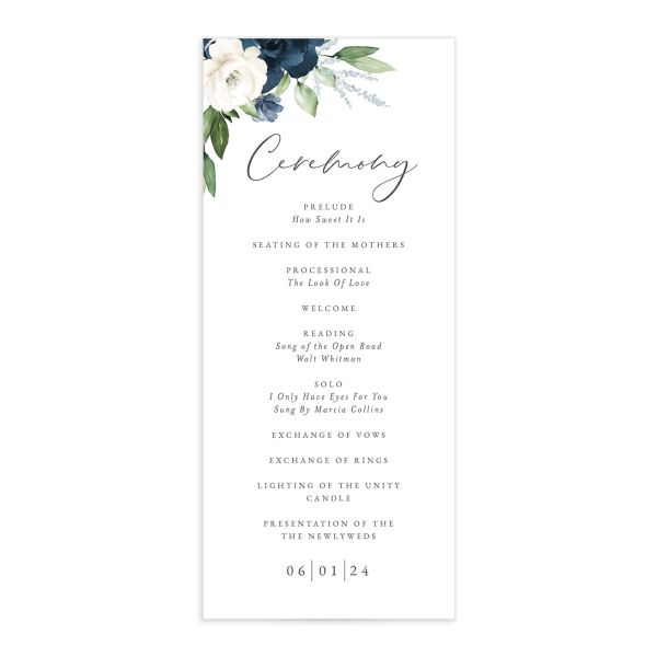 Beloved Floral Wedding Program front in blue
