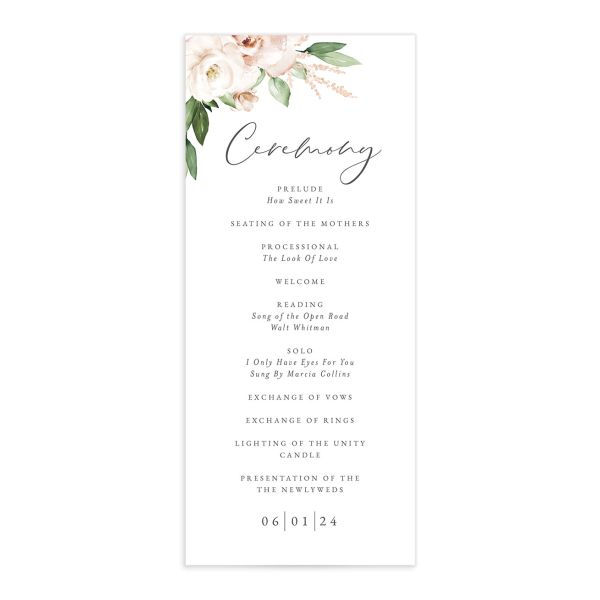 Beloved Floral Wedding Program front in white