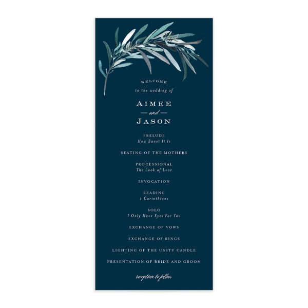 Lush Greenery Wedding Program front in blue