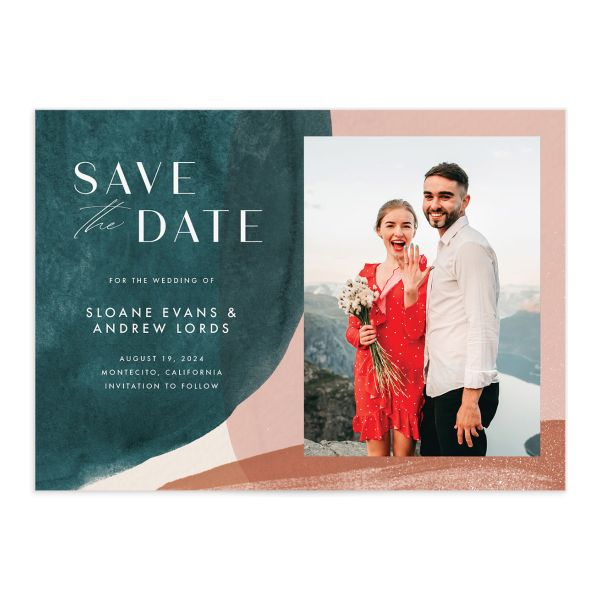 Abstract Watercolor Save the Date front closeup in teal