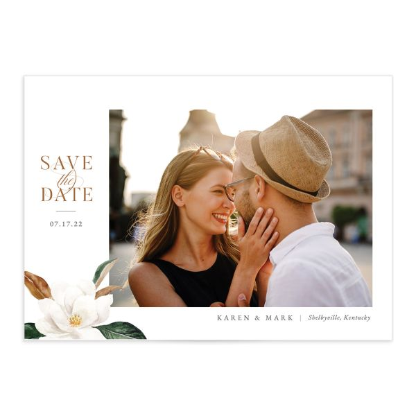 Painted Magnolia Save The Date Cards
