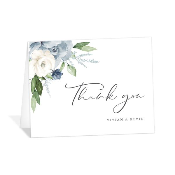 Beloved Floral Thank You Card front in teal
