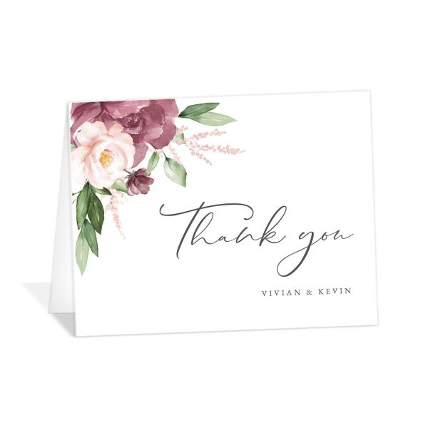 Beloved Floral Thank You Card front in mauve